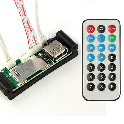 Remote 5-12V DIY USB/SD/MMC MP3 WAV AUX Amplifier Decoder Board Cool