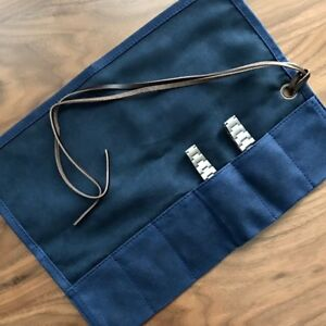 Navy-Blue-Waxed-Canvas-Brown-Leather-Six-Watch-Travel-Storage-Pouch-Roll-Case