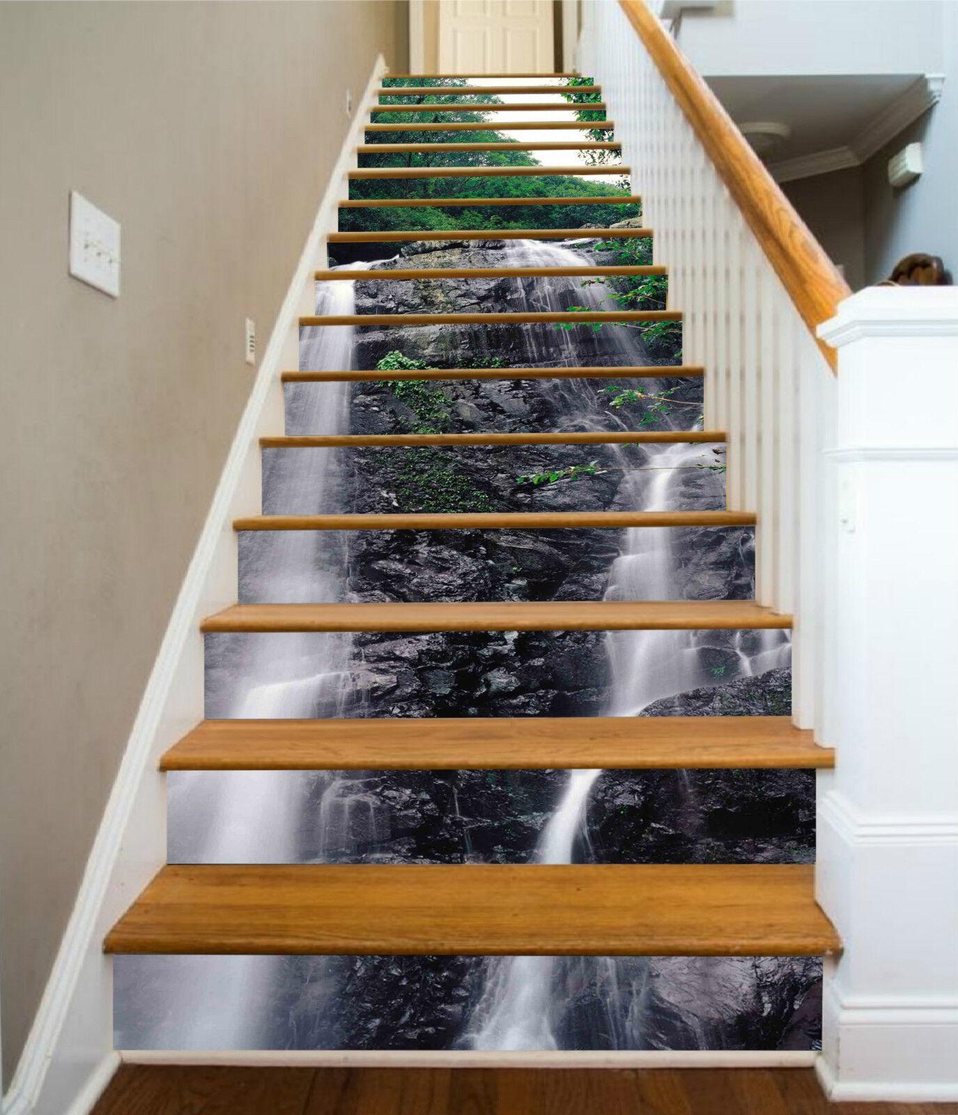 3D Wasserfluss 10 Stair Risers Dekoration Fototapete Vinyl Aufkleber Tapete DE
