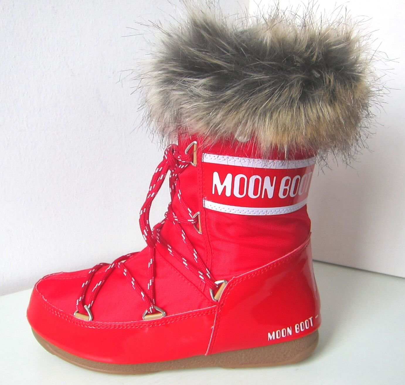 Tecnica MOON BOOT Monaco low rot Gr. 38 Moon Boots red Kunstfell Fell fake fur
