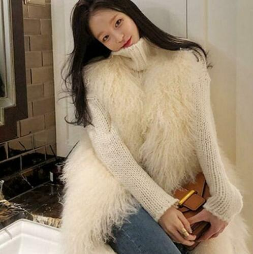 Da Donna Giacca Gilet in pelliccia sintetica Cappotti Tops Moda Lungo Caldo Slim Fit Gilet