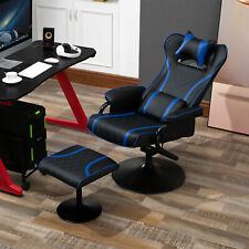 Racing Style Swiveling Recliner with Ottoman Set Ergonomic Gaming Chair Black
