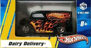 Hot-Wheels-1-87-Scale-Black-w-Flames-Dairy-Delivery-w-Real-Riders