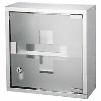 WALL MOUNTED MEDICINE CABINET FIRST AID BOX CUPBOARD GLASS DOOR LOCKABLE 2 KEYS
