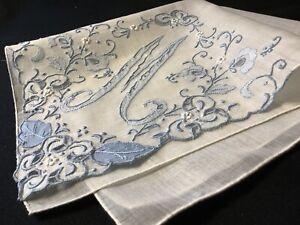6613-ELEGANT-Vintage-40s-Madeira-Bridal-Blue-Monogram-M-Wedding-Handkerchief
