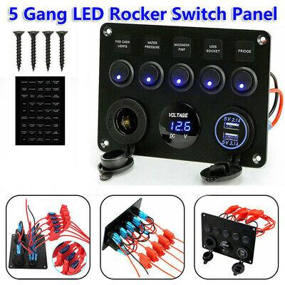 6 Gang 12V 24V ON-OFF Blue LED Toggle Switch Panel Marine Truck Camper Car Boat