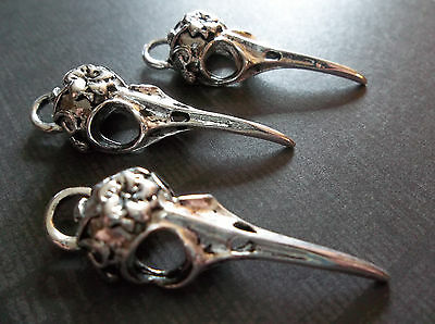 3 Silver Bird Skull Pendants - Flower & Vine Design Realistic & Long Beak Charms