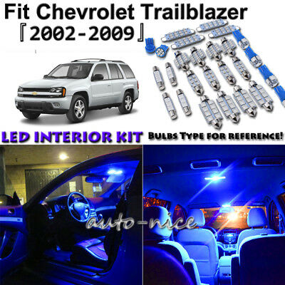 17x Blue Led Interior Lights Package Kit For 2002 2009 Chevrolet Trailblazer