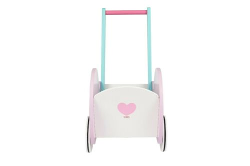 Toysters Wooden Push Walker Wagon for ToddlersAdorable Baby Doll Carrier Bugg