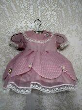 Vintage 1950's Pink Toddler Girls Dress Sheer Nylon Roses w/ Hoop Crinoline Slip
