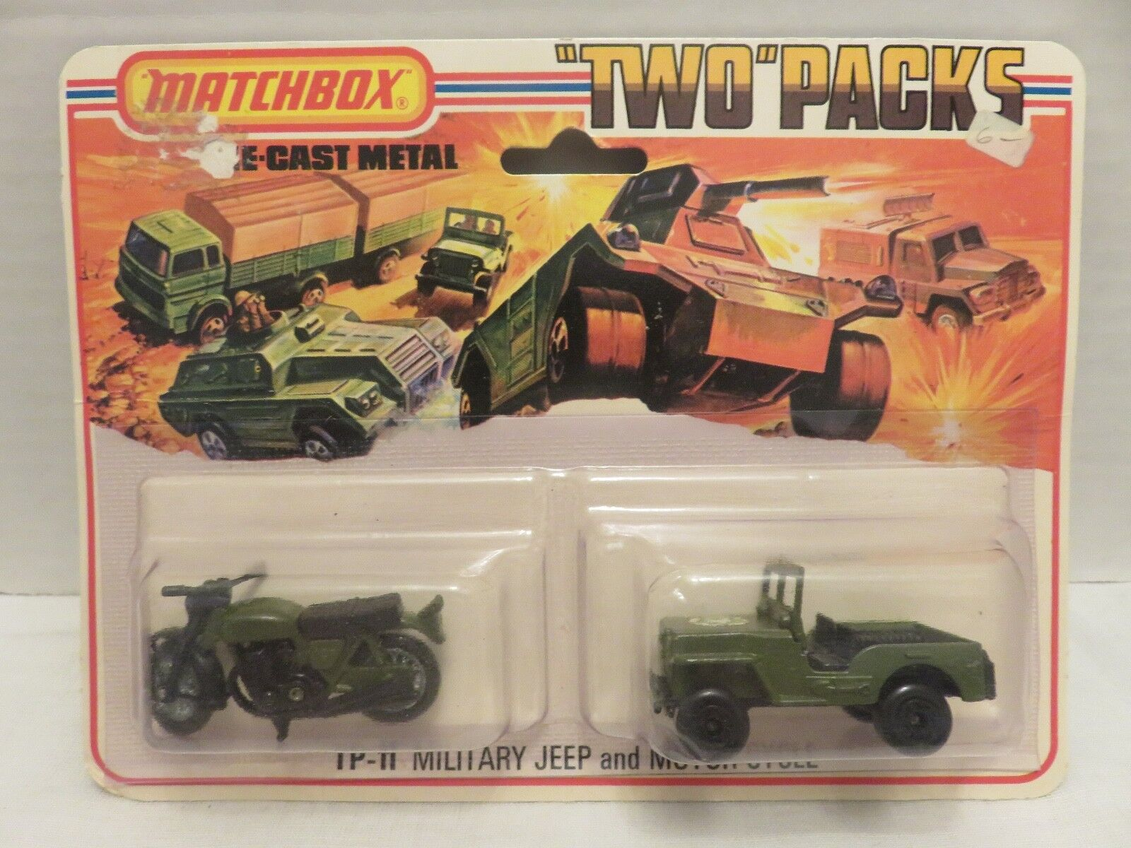 1975 Matchscatola 2 Twin Pack TP-11 Jeep militare e Motorcycle