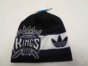 ADIDAS NBA CUFFLESS KNIT BIG LOGO BEANIE CAP HAT SACRAMENTO KINGS NWT
