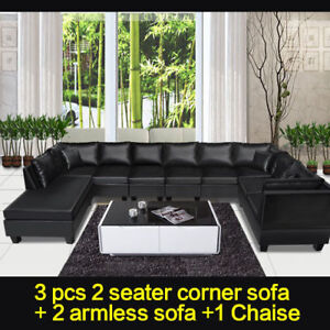 New Black Sofa Bed Modular Lounge Suite Chaise Couch