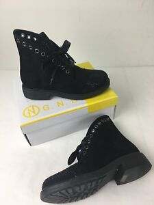 16873f932cb French Blu Womens Shoe Studded Cap Toe Boot Black Size 6 New Suede ...