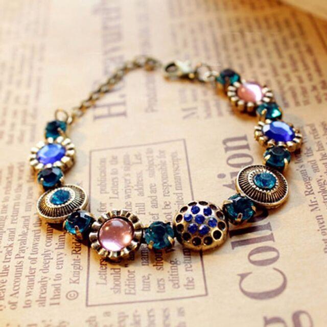21cm Retro Vintage Antique Brass Women Colorful Rhinestone Bangle Bracelet Chain