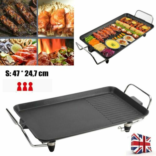 Electric Teppanyaki Table Top Griddle BBQ Grill Pan Hot Plate Barbecue Camping