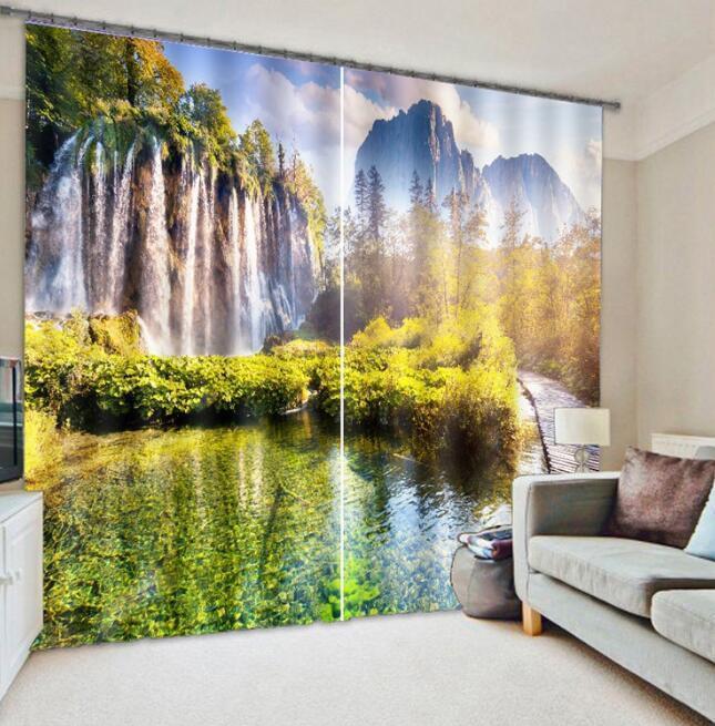 Montaña 3D 352 Cortinas de impresión de cortina de foto Blockout Tela Cortinas Ventana au