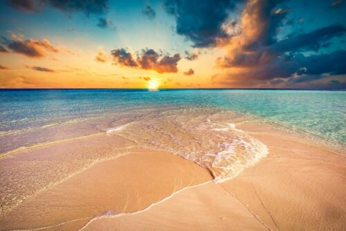 Photo Wall Mural-SAND BEACH- 1077V -NON WOVEN-Sunset Ocean Sea Pacific Wallpaper