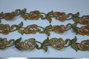 3-x-25cm-DARK-GOLD-COPPER-ROSE-FLOWER-TRIMMING-Embroidered-Sew-Iron-On-APPLIQUE