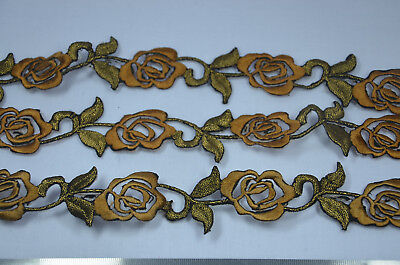 3 x 25cm  BLUE AQUA GOLD ROSE FLOWER TRIMMING Embroidered Sew Iron On APPLIQUE