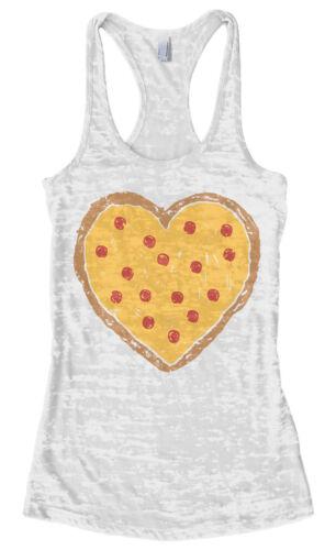 Pizza Pie Heart Love Women/'s Burnout Racerback Tank Top Valentine/'s Day