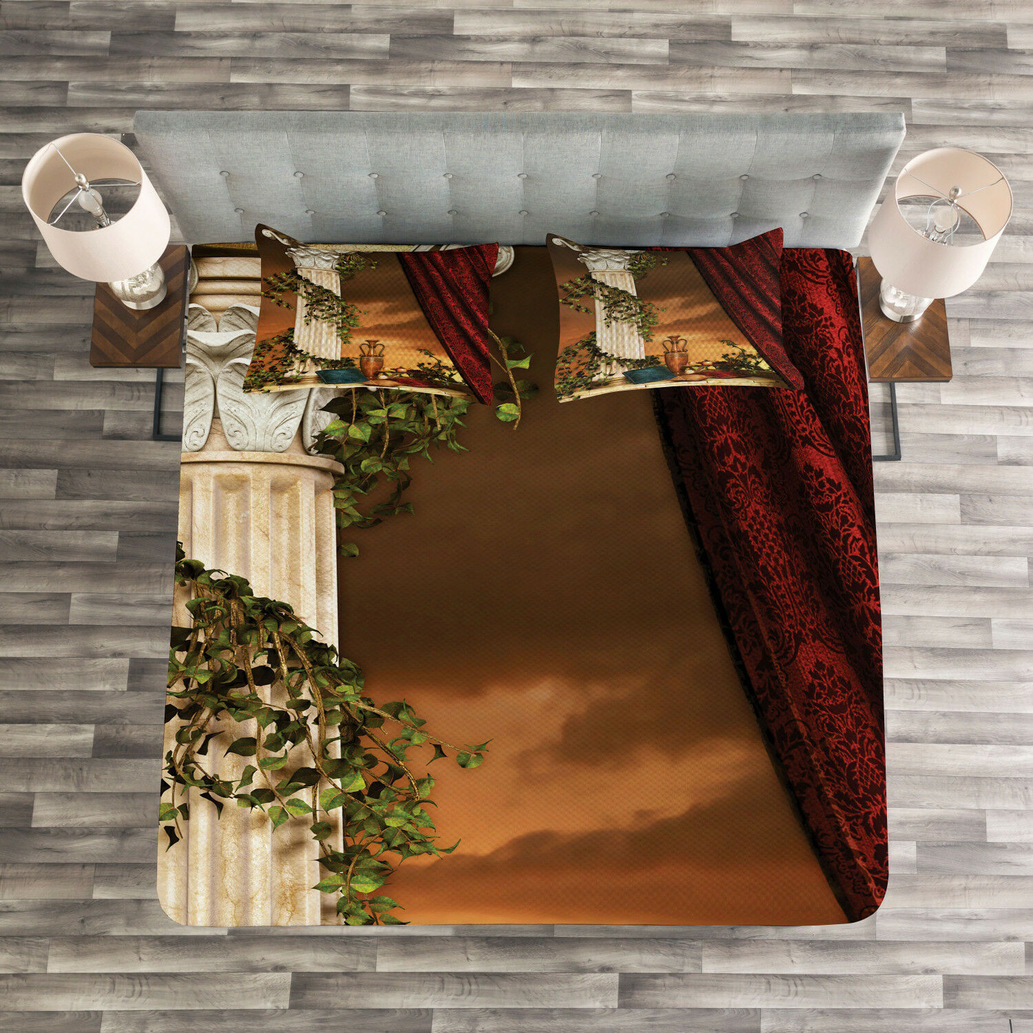 Gothic Quilted Bedspread & Pillow Shams Set, Greek Scenery Sunset Print