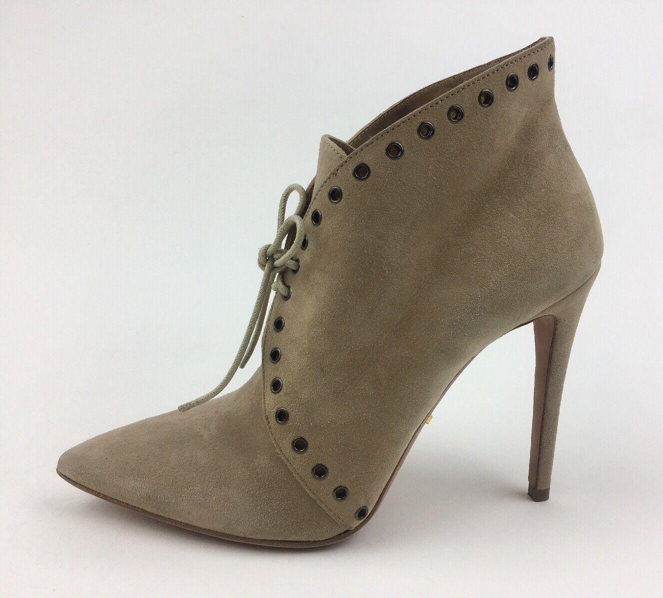Prada Eyelet Pointed Toe Lace Up High Heel Booties Sz EUR 37.5, Beige Suede 2330