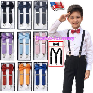 New-Suspender-and-Bow-Tie-Sets-for-Boys-Girls-Kids-Child-Children-Ship-from-USA