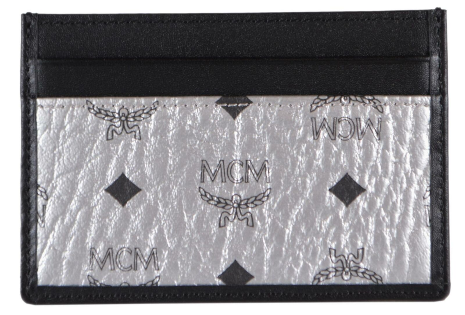 New MCM Silver and Black Visetos Canvas Mini Card Case Wallet