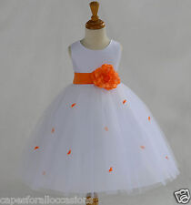 WHITE ROSEBUD WEDDING CHILD FLOWER GIRL DRESS PAGEANT TULLE 12-18M 2 4 6 8 10 12