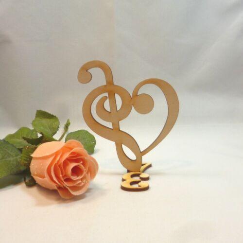Notenschlüssel mit Bassschlüssel Herzform stehend 3//4 Takt 10cm Holz Musik