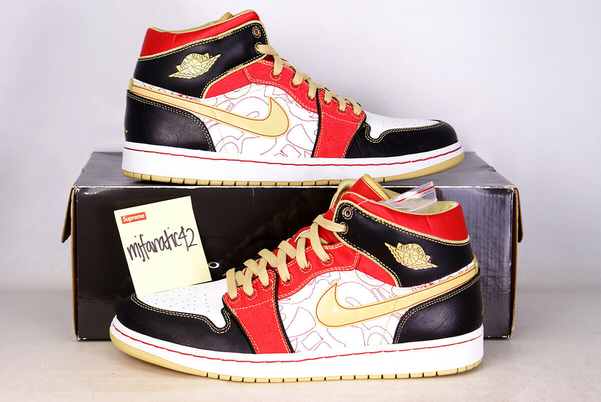 2007 Air Jordan 1 Retro XQ SHANGHAI Promo Sz 11.5 White gold Dust Red 316915 073