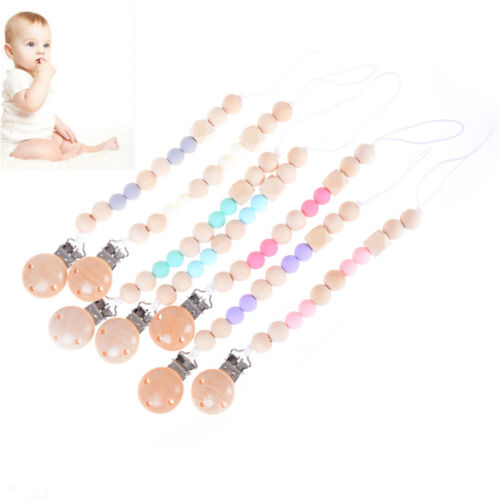 Candy Color Pacifier Clips Chain Holder Wood Silicone Beads Nipples Dummy HolPTH