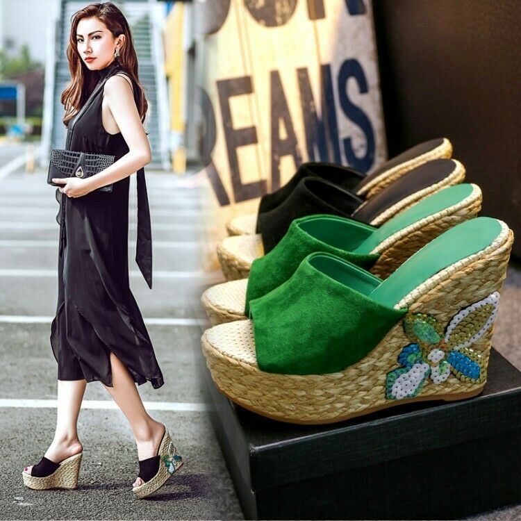 Fashion donna Wedges High Heel Slippers Suede Mules Slip On Solid Peep Toe scarpe