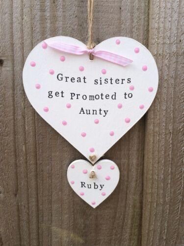 Placa hecha a mano personalizado de madera de corazón tía hermana Regalo De Navidad Presente