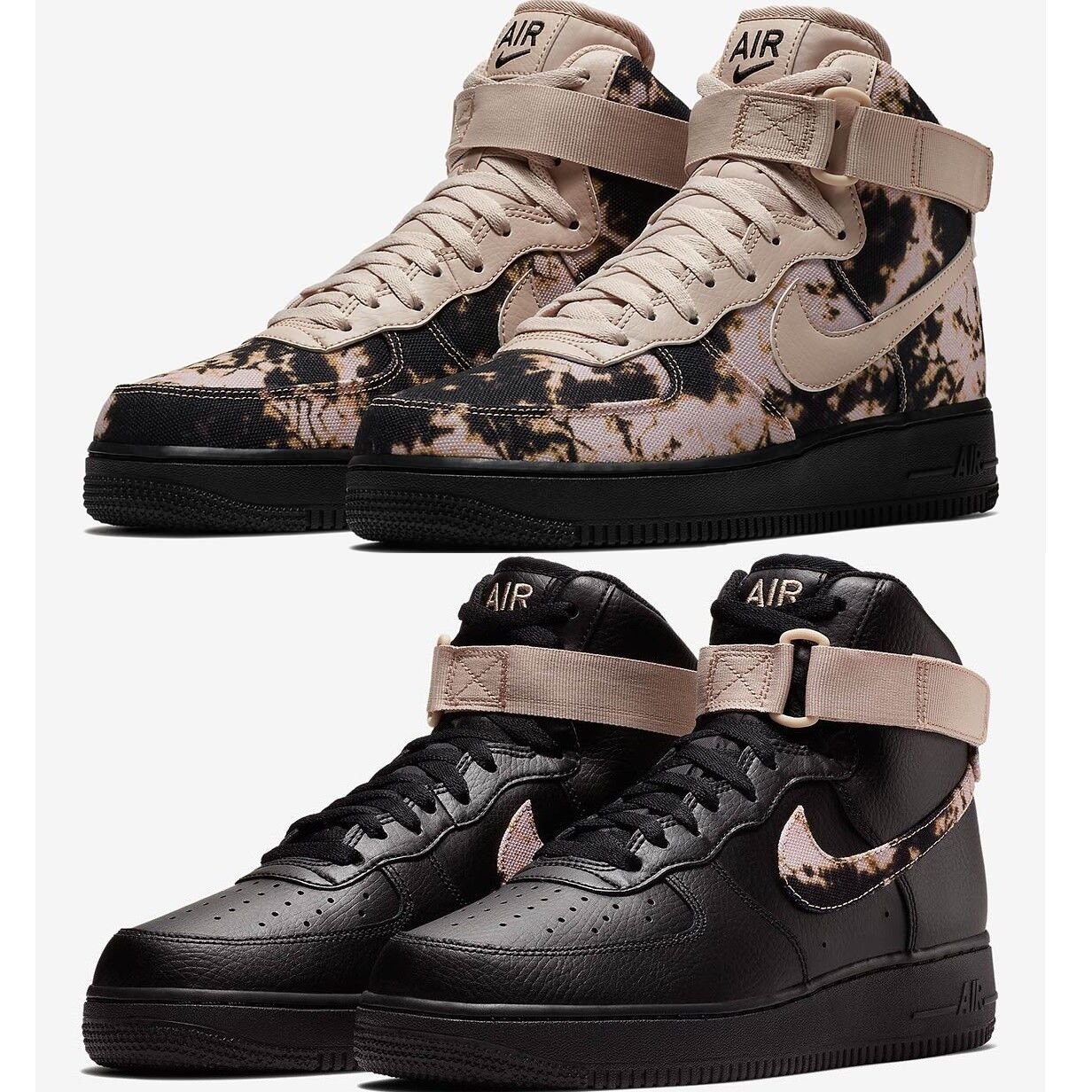 NIKE AIR FORCE 1 '07 HIGH Acid Wash Print MEN'S COMFY SHOES LIFESTYLE SNEAKERS Particle Beige/Particle Beige/...,Black/Particle Beige/Particle ...