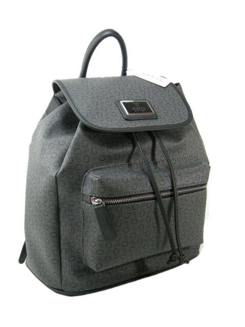 New Guess G Logo Signature Flap Draw String Backpack Coal Black Book School Bag