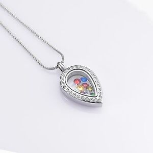 Stainless-Steel-Jeweled-Tear-Drop-Cremation-Pendant-Urn-Jewelry-Pet-Ashes-Human