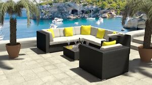 MODULAR RATTAN OUTDOOR LOUNGE SOFA SET COUCH COFFEE