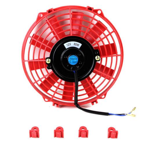 "9/"" RED SLIM ELECTRIC REVERSIBLE RADIATOR COOL RACE FAN"