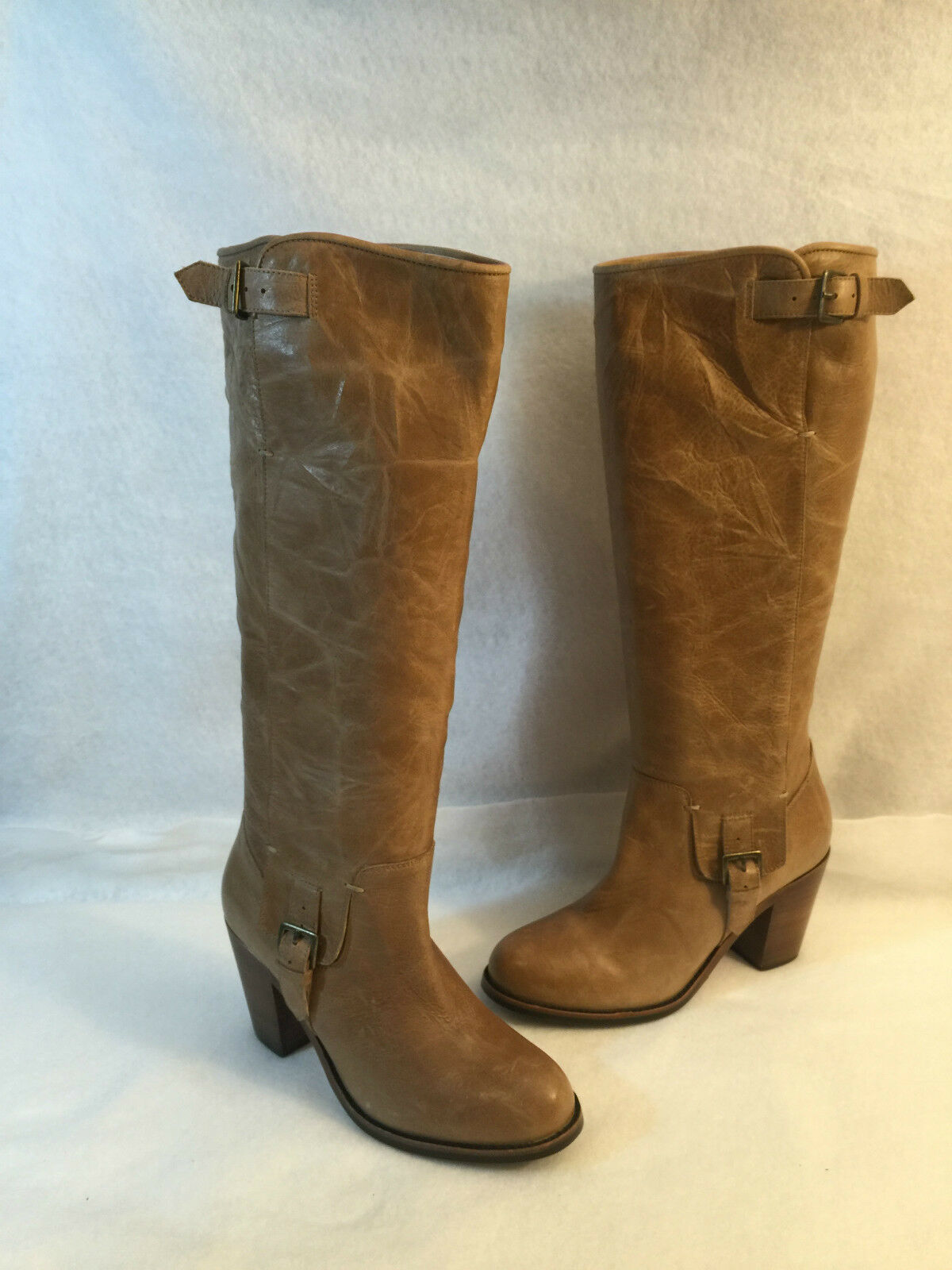 Ariat Knee High Dress Casual Western Boot Heels 7 Tan Leder Round Toe 7 Heels B 92167a
