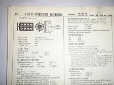 1970 CHECKER MOTORS AEROBUS TURBO FIRE 350 200 HP 2 BBL SUN TUNE UP SPECS SHEET