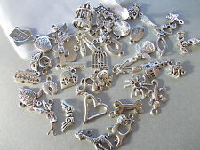 PACK OF 50 MIXED RANDOM SELECTION OF SILVER COLOR TIBETAN METAL CHARMS/PENDANTS