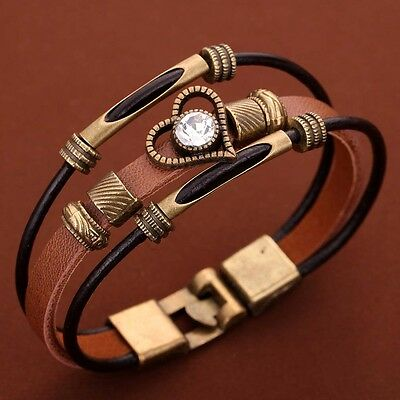 Retro Multi-Layer Brown PU Leather Bronze Heart Crystal Wristband Bangle Women
