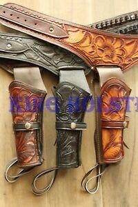 LEFT 44/45 Cal Tooled Holster Gun Belt DropLoop LEATHER Western RIG SASS Cowboy