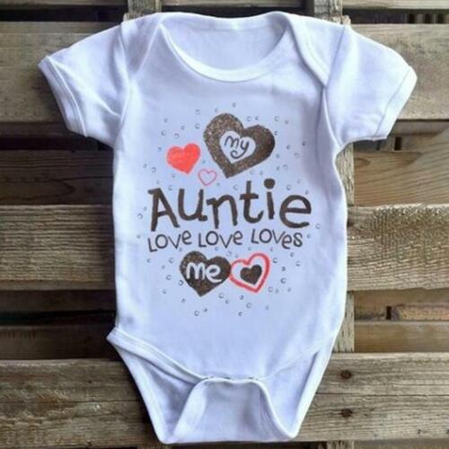 Infant Bodysuit Soft Baby Triangle My Auntie Loves Me Printed Bodysuit Q