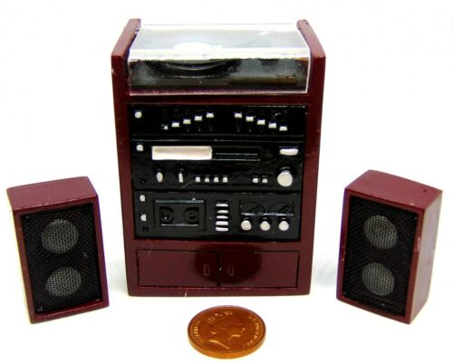 Escala 1:12 Sistema Hi Fi reproductor de trabajo no y 2 altavoces tumdee música Casa de Muñecas