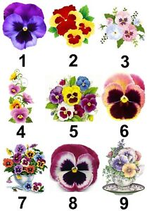 Pansies flower small or large sticky white paper stickers labels new image is loading pansies flower small or large sticky white paper mightylinksfo