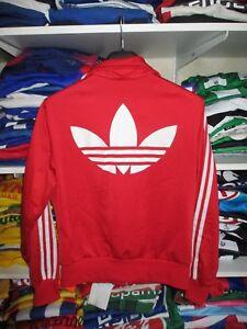 Détails sur Veste ADIDAS sport rouge rétro vintage TREFOIL tracktop jacket femme 40