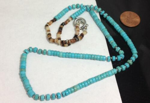 g255b-w0.5 Ethnic genuine  turquoise//pen shell  heishe necklace//4mm diameter